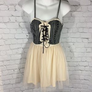 ANTHROPOLOGIE CORSAGE TULLE MUSTARD SEED DRESS S